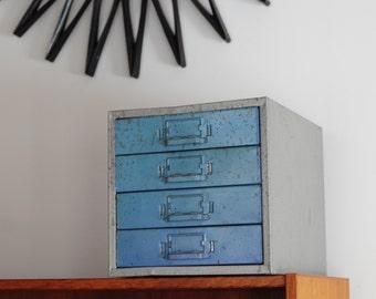 Vintage Industrial Metal Filing Cabinet / TEAL drawers!