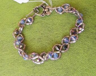 Hand made tennis bracelet purple crystal beads