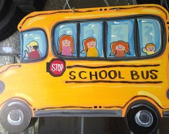 School Bus Door Hanger with Kids