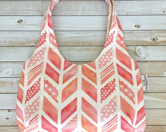 Pretty Coral Chevron Aztec Hobo Bag, Shoulder Bag, Reversible Purse, Over The Shoulder Bag, Sling Bag, Medium Size Purse, Canvas Bag