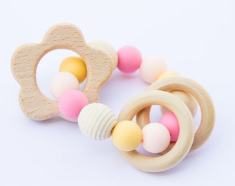 Wooden teether - wooden silicone teether - wooden rattle - baby gift - natural baby toy - teething toy - flower teether - baby girl gift