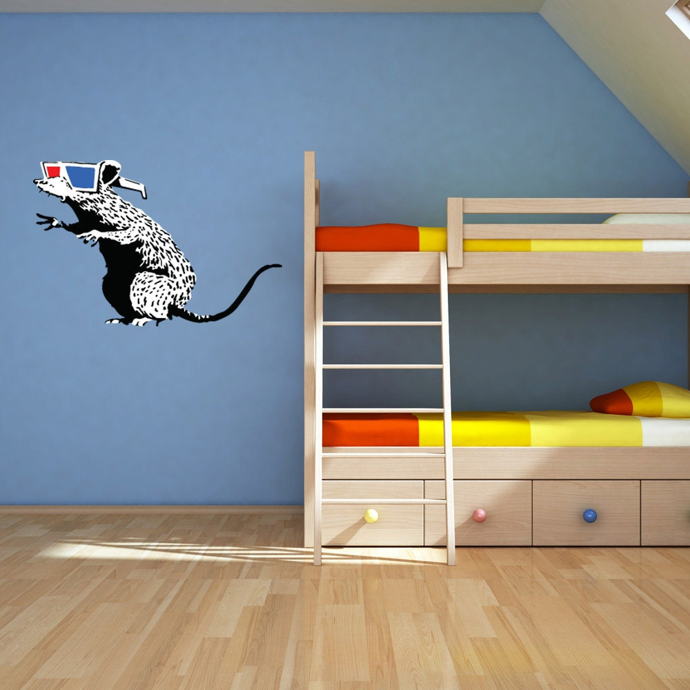 Rat with 3d glasses wall decal banksy wall art sticker vinyl rat with 3d glasses wall decal banksy wall art sticker vinyl wall art home decor amipublicfo Gallery