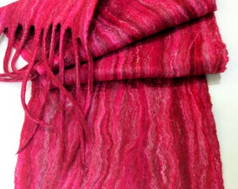 """Pink Felted scarf merino wool scarf Long scarf Felt scarves  Winter double-sided felted scarf with tassels for her 94""""/12 """""""