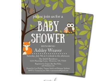 woodland creatures baby shower invitation forest animals baby shower invitation forest baby shower instant