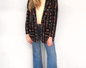 Vintage 1970's Velvet Mulit Colored Embroidered Blazer