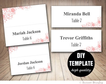 Wedding Place Cards Template,DIY Placecards Template,Instant Download,Pink Wedding Seating Placecards,Printable Pink Placecard Template