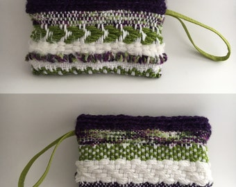 Hand Woven Clutch - Purple and Green