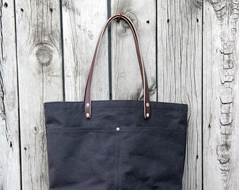 MARKET TOTE BAG | Espresso with Leather Bottom | Leather Straps | Interior & Exterior Pockets | Lifetime Guarantee