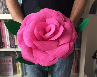 Giant crepe paper rose - hand made - 28cm diameter - Peony, perfect for Weddings, Birthdays, Valentines