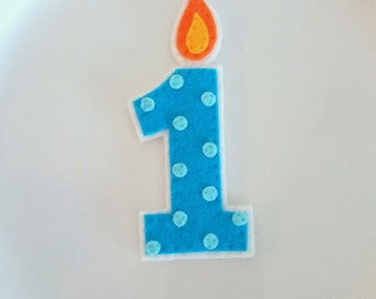 First Birthday Candle Felt, Polka Dots, Custom Color, Cake Topper