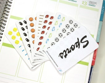 Itty Bitty Sports Stickers! Perfect for your Erin Condren Life Planner, Filofax, Plum Paper and other planner, scrapbooking! #SQ00873