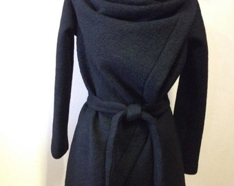 Black wool square wrap coat - cardigan /Cowl Neck asymmetrical Oversized Wrap