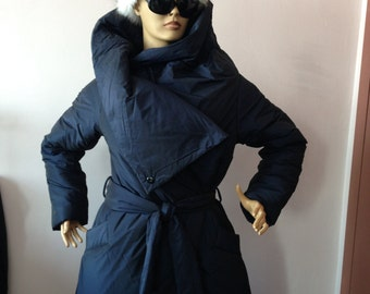 Warm winter coat,Womens wrap down coat/ Womens winter jacket/ Puffer atmosphere down overcoat in blue/ Quilted down coat