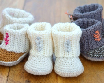 CROCHET PATTERN Booties with Rib Cuffs 4 Sizes Baby Booties Easy Photo Tutorial Digital File Instant Download