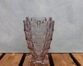 1930s Art Deco Vase Pressed Glass Flower Vase Pale Amethyst Vintage Glass Vase