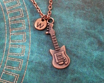 Guitar Necklace Copper Electric Guitar Jewelry Guitarist Gift Guitarist Jewelry Boyfriend Necklace Gift for Dad Copper Guitar Charm Necklace
