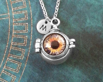 Eye Necklace Evil Eye Jewelry Eye Locket Necklace Eyeball Necklace Eyeball Jewelry Goth Jewelry Gothic Necklace Eye Charm Necklace Pendant