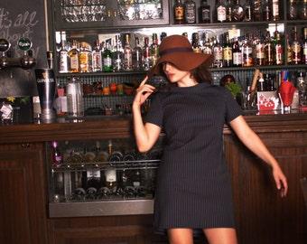 60s Alpha Mini Scuba Fabric Dress// Neopren Dark Blue Striped Elastic Dress//Minimal Dress