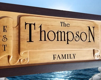 Personalized family name sign Personalized Wedding Gift Anniversary Gift Personalized Name Sign Wood, Custom Engraved 5th anniversary gift
