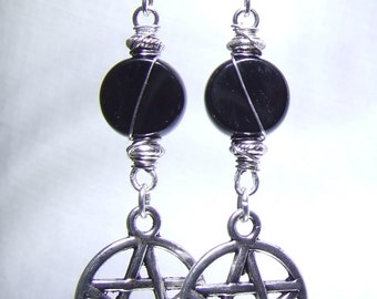 Wicca Earrings Black Onyx Pentagram Earrings Black Silver Earrings Pentagram Pendant Magick Protection Occult Jewelry Wicca Gift Witchcraft