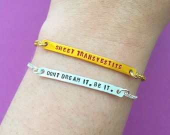 "Customizable Cult Horror Engraved Stamped Bracelet, ""Don't Dream It. Be It/Creature Of The Night/Sweet Transvestite"" Made to Order"