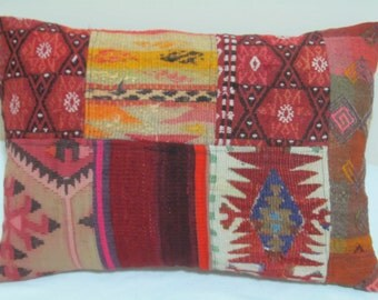 "Turkish patchwork Kilim Pillow cover 14""x20"""