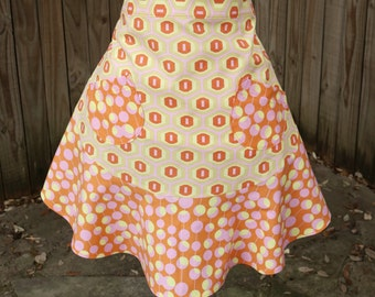 Half Apron with fun flirty skirt in Tangerine and Pink