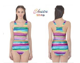 """watercolor designed One-piece Swimming Suit  - """"Absorb"""""""