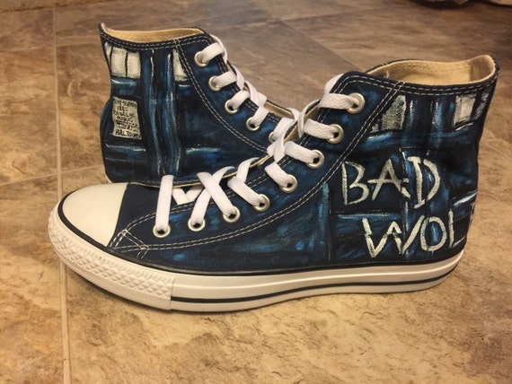 84025ae7927d18 hand painted Doctor Who 10th 11th canvas shoes · Bad Wolf Painted Shoes  Converse Costume Cosplay Halloween
