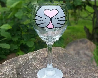 Cat Face handpainted wine glass