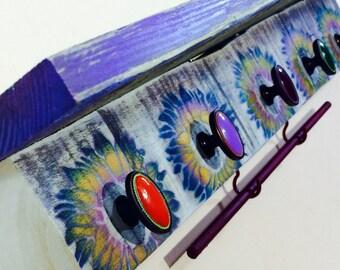 Wall hanging vanity /floating nightstand/ makeup organizer hanging colorful shelf girls room decor 5 hand-painted knobs 2 hooks bracelet bar