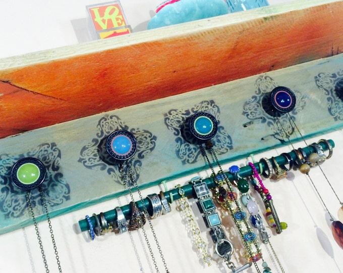 Floating pallet wood accent shelving /reclaimed wood wall shelves /jewelry storage holder organizer 5 knobs 2 hooks bracelet bar