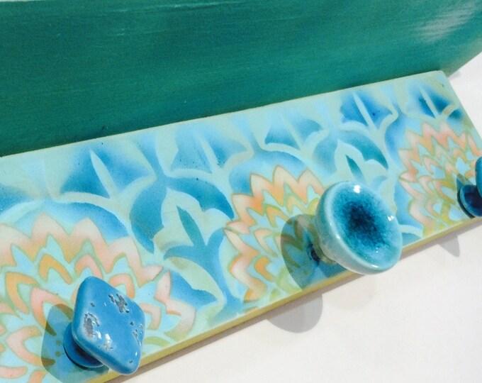 Towel holder /wall hanging shelf/ bathroom decor /Floating shelves pallet wood /reclaimed wood art /makeup organizer lotus flowers 3 knobs