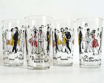Mid century style glasses with couples dancing samba, cha cha, rock n roll and slow
