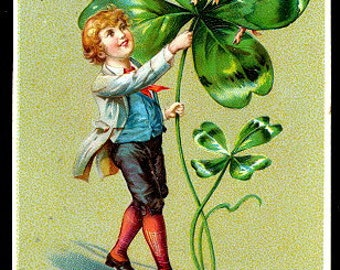 1907 Tucks St. Patricks Day Lad with Clover Postcard