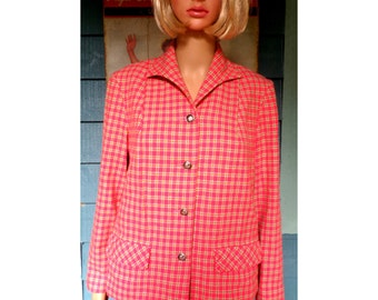 Vintage 1960's early 70's 3 Piece Coral Wool Plaid Pendleton Suit Pants/Jacket/Skirt Hipster/Geekster/ Size 12 Med Perfect for Fall