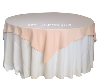 Blush Table Overlays 85 X 85 Inches, Table Overlays For 6 FT Round Tables,