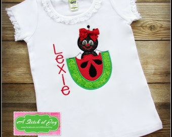 Ant, Watermelon, Picnic, Summer, Black Ant, Personalized shirt, Girl's Shirt, Embroidery, Applique