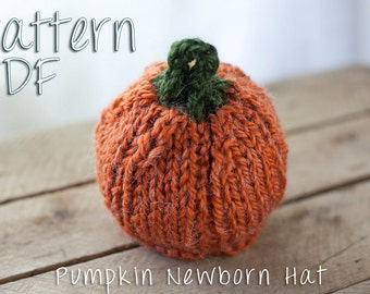 Pumpkin Newborn Hat Pattern, PDF Knitting Pattern, Halloween Baby, Knit Pumpkin Hat, Pumpkin Hat Newborn, Fall Newborn, Newborn Halloween