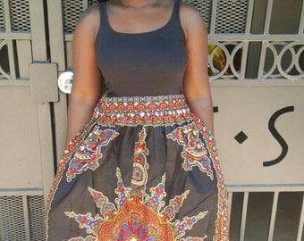 SALE: African clothing, African skirt, african skirts, ankara skirt,, african maxi skirt, african print skirt, dashiki, ms alaba, black