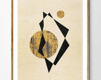 Two Suns - Geometric Art Print, Minimalist Poster, Sci Fi Art, Contemporary Wall Art, Surreal Print
