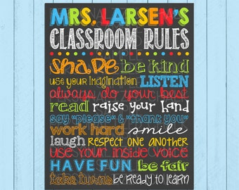 Classroom Rules Chalkboard Sign | Teacher Wall Decor | Chalkboard | Teacher Gift | Teacher Appreciation | Classroom Sign | *DIGITAL FILE*