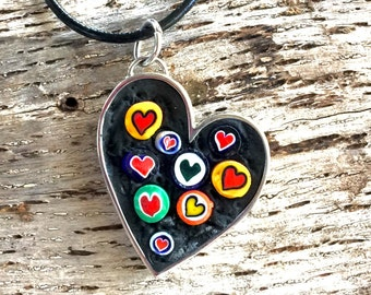 Mosaic Floating Heart Pendant with Murano Millefiori