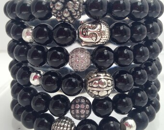 Black Tourmaline Bracelet,  stretch cord, slip on