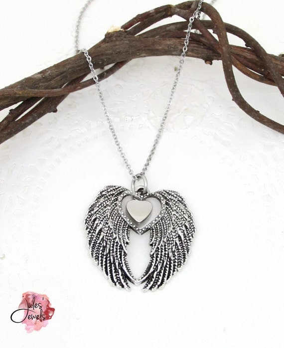 Angel Wing Urn Necklace: Angel Wings Love Memorial Urn Necklace Cremation Jewelry