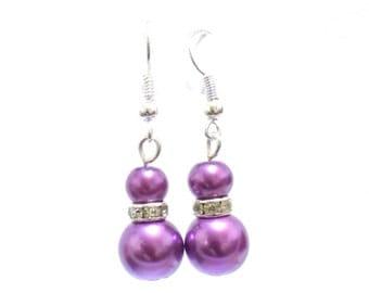 purple pearl earrings, pearl earrings, purple earrings, dangle earrings, earrings, bridesmaid earrings, drop earrings