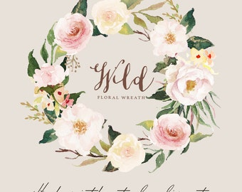 Watercolor floral wreath-Wild/Individual PNG files/Hand Painted/Wedding design