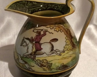 Royal Doulton Pitcher; Doulton Burslem, Ceo-Morland Pinxt 1784 England Rd No 374874 D800N, horserider, four dogs, house with trees