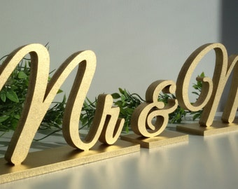 Mr & Mrs gold sign. Wedding table decor.