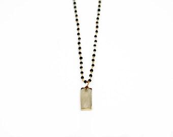 Long Iolite Rosary Chain Pendant, Lemon Quartz Pendant, Rosary Chain Necklace, Delicate Necklace